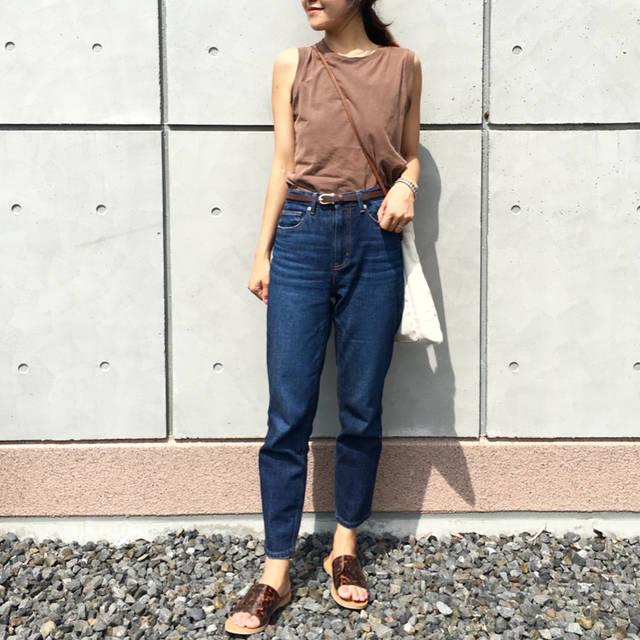 """Mariko on Instagram: """"2018.07.23 . #きのコ . @gu_global  様から 7月29日に発売される #テーパードアンクルジーンズ  をプレゼントしていただきました✨ . 私はブルーのSサイズを履いています👖 身長166センチの私が履いて 丈は足首あたりです .…"""" (101308)"""