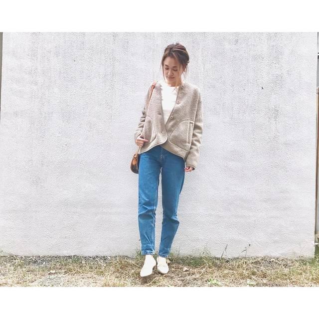 """natsu725 on Instagram: """"code◡̈⃝ . . . #ユニクロ の #フリースノーカラージャケット もふもふでかわいいー♡ . . 大きめサイズで襟抜いて着ると可愛い❤️ . . . #ママファッション #fashion #ママコーデ  #コーデ  #code #ootd #outfit…"""" (109215)"""