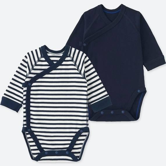 ユニクロ|クルーネックボディ(ボーダー・長袖・前開き・2枚組)60-70サイズ|BABY(赤ちゃん服)|公式オンラインストア(通販サイト) (110015)