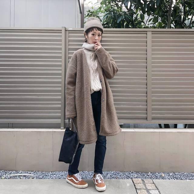"""Kikuno  Sayumi on Instagram: """"〻UNIQLO〻 ・ ・ ❄ ・ ・ #今日のコーデ ・ @uniqlo の#フリースコーディガン で#暖かコーデ ・ XLをチョイス。このシルエットめっちゃ好き💕 ・ 裏地がフリースになっててめちゃくちゃ暖かい✨ ・ アウターで¥3990って安い😍 ・ ・ ・…"""" (111151)"""