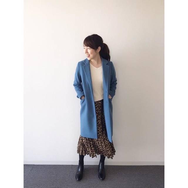 """saki-tokuyama on Instagram: """". ♡ @gu_for_all_ の #ウールブレンドチェスターコート 🧥 . レオパードのスカートとブルーを合わせてみたら好きな組み合わせでした🥰 . @fabia.jp の白ニット、かなり着回せます🙆♀️♡ . #コート : #gu #スカート : #zara #ニット…"""" (113312)"""