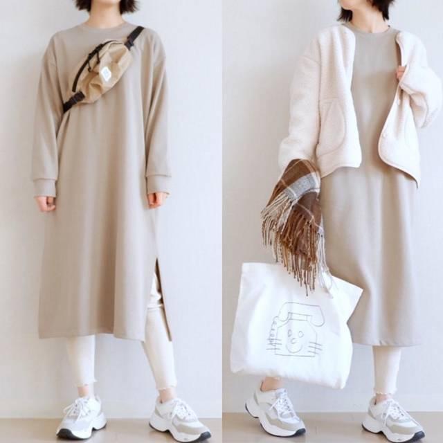 """* tomomi * on Instagram: """". アウターとバッグ以外GUです✦ฺ いつも いいねやフォロー ありがとうございます☻ . outer #uniqlo #フリースノーカラージャケット dress #gu_for_all #スウェットスリットワンピース pants #gu #ワッフルレギンスパンツ bag…"""" (116780)"""