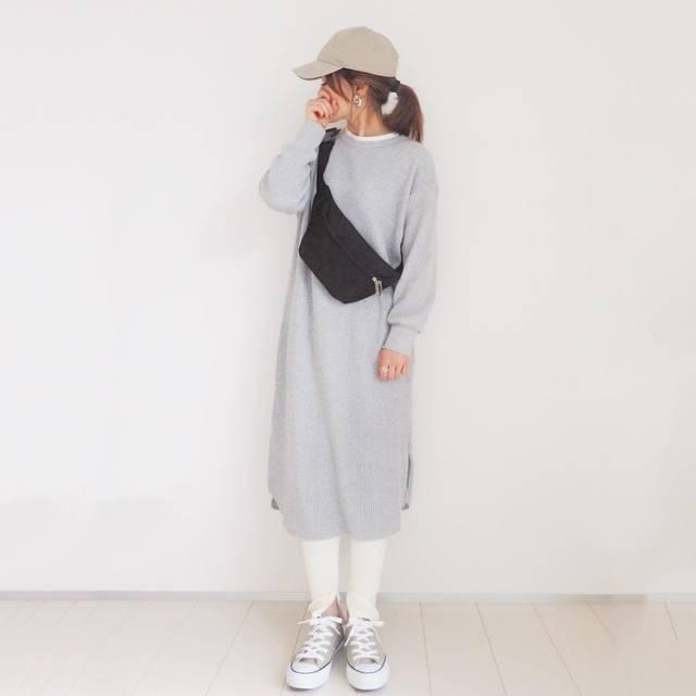 """mayo on Instagram: """". @gu_for_all_ の#ワッフルスリットワンピース♡ 私はSを着てます☺️ 丈もいい感じです♡ . 楽チン♡シンプル大好き🥰 春はワッフルワンピばっかになりそう😂️💛 . one-piece/ #gu_for_all  leggings/ #reca bag/…"""" (118540)"""