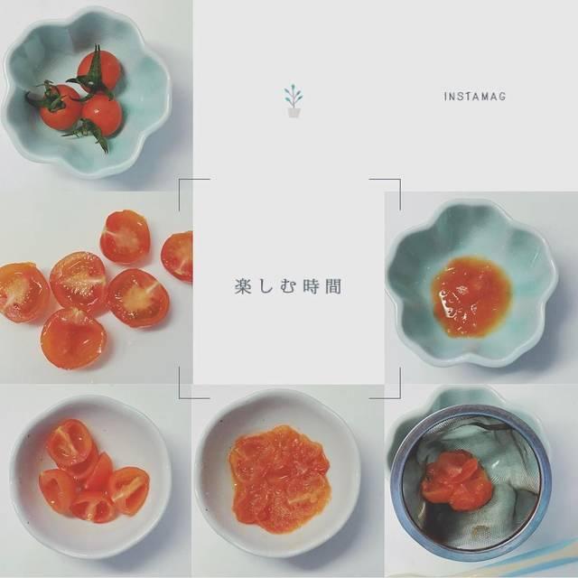 """とうふ on Instagram: """"ミニトマトのペースト。  1.ミニトマトのヘタをとる 2.よく洗い半分にカット 3.種を取り出す 4.レンジで加熱 5.裏ごし  ミニトマトは小さいので、楽さを考え皮はそのまま!裏ごしすれば剥がれた大きい皮は残るので、簡単にペースト状になります💪( ¨̮ 💪)…"""" (124043)"""