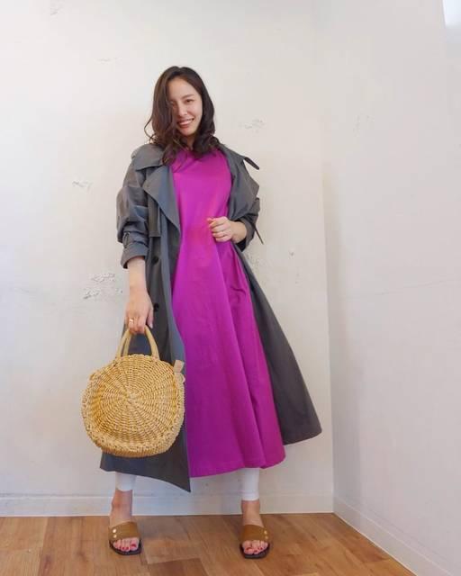"YURI TAKAHASHI on Instagram: "": #outfit . . 先日の私服♡ . . dress @uniqlo_ginza  outer @lefua.closet #レフアスーパーロングオーバートレンチ leggings @oeil_official_  bag #lefuacloset…"" (124707)"