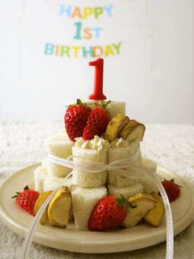 食パンで♪1歳の誕生日ケーキ【離乳食】 by 梅ミッキー 【クックパッド】 簡単おいしいみんなのレシピが329万品 (131902)