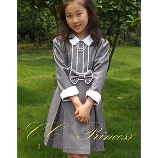【楽天市場】白の衿とレースが上品なグレーのワンピースドレス (6392)