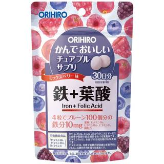 Amazon.co.jp:オリヒロ かんでおいしいチュアブルサプリ 鉄+葉酸 120粒 (27853)