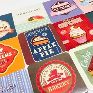 Amazon | ヴィンテージポスター風フレークシール ケーキ ベーカリーなど可愛い絵柄がいっぱい 37枚 (31732)