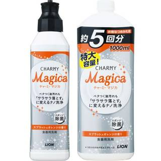 Amazon | チャーミーマジカ 食器用洗剤 スプラッシュオレンジの香り 本体 230ml+詰替大型 1000ml (33381)