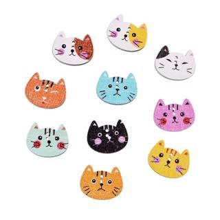 Amazon.co.jp: ダーリンエンゲル かわいいペットの猫の木製ボタン100個 20*16mm (36300)