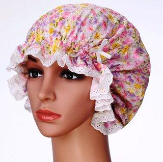 綿100%あまりキツクないゴムがふんわり頭を包んで...