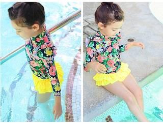 Amazon | カエナリエ 子供 セパレート 水着 花柄 フリル UV キャップ付き (43228)