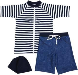 Amazon | Babystity 男の子 水着 UPF50+ ボーダー柄 ラッシュガード 帽子 デニム柄パンツ (43231)
