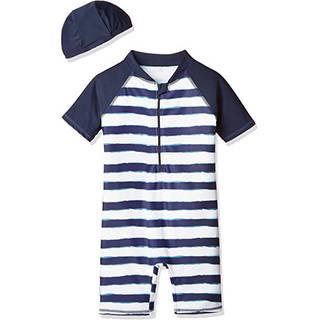 Amazon | ヤッコースタイル 男の子 ラッシュガード 帽子付き ボーダー 2点セット 5サイズ展開 (43238)