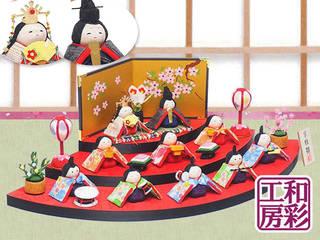 【楽天市場】雛人形 ひな人形「優しい笑顔 扇面三段わらべ雛10人揃い」 (83224)