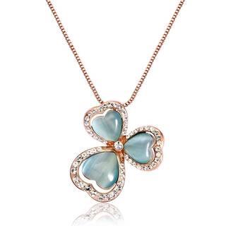 Amazon | IUHA 幸運を呼ぶ クローバー キャッツアイネックレスオーストリア産CZダイヤモンド (86596)