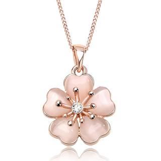 Amazon | IUHA 淡いピンク桜ネックレス 18Kピンクゴールドメッキ オーストリア産ジルコニア (89553)