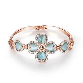 Amazon | IUHA 幸運を呼ぶ 四葉のクローバー キャッツアイ ブレスレット/バングルオーストリア産CZダイヤモンド (89556)
