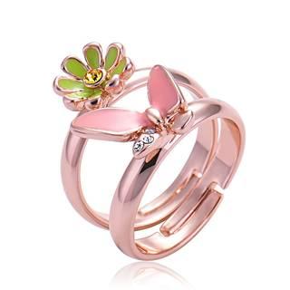 Amazon | IUHA 18K ピンクゴールドメッキ お花+蝶々 ピンキーリングオーストリア産のCZダイヤモンド (89564)