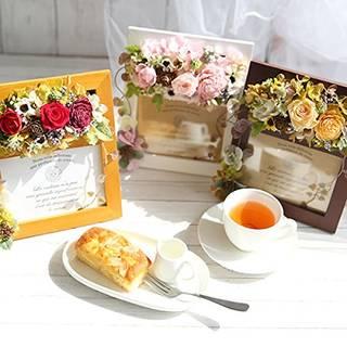 Amazon.co.jp: 母の日ギフト ウッドフォトフレームプリザーブドフラワーとスイーツセット (ナチュラル) (91105)