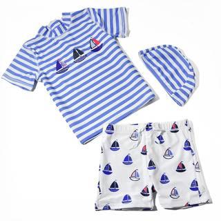 Amazon.co.jp: 水着 子供 男の子 幼児 2-9歳 海軍風 上下 3点セット  (95276)