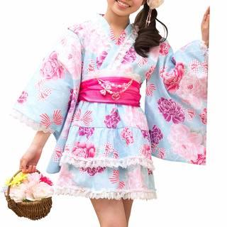 Amazon | アリサナ 浴衣 こども 女の子 浴衣ドレス 子供 (セパレート浴衣+兵児帯2枚セット)  (98768)