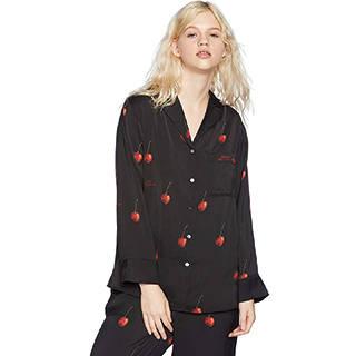 Amazon | [ジェラート ピケ] チェリーサテンシャツパジャマ (107667)