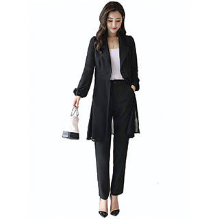 Amazon | Sueeya レディース スーツ パンツスーツ 2点セット (120963)