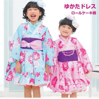 【楽天市場】京都瑠璃雛菊 浴衣ドレス 衿元レース付 ロールケーキと薔薇柄 (125841)