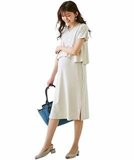 Amazon.co.jp: [nissen(ニッセン)] 授乳 服 産前 産後 Vネック セットアップ 風 マタニティ ワンピース マタニティ グレージュ マタニティ3L: 服&ファッション小物 (127646)