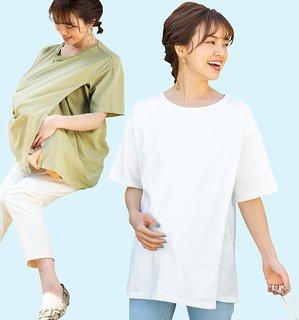 Amazon | Sweet Mommy マタニティ 授乳服 授乳ケープにもなる Tシャツ  (128105)