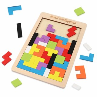 Amazon | D-FantiX 木製パズル テトリス パズル 型はめ 積み木 3歳 知育パズル (130928)