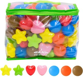 Amazon | RiZKiZ カラーボール 丸/星/ハート カラフル 7色 100個入り (131685)