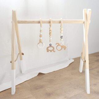 Amazon | baby firstlook ベビージム 木製ジム ベビートレーナー ベビー歯固め (131993)