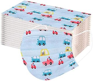 Amazon | 子供用 マスク【AXBdoll】可愛い乗用車の絵柄 保護マスク 子供使い捨て 3層構造 (50枚入/ 子供用, 乗用車の絵柄)  (133766)