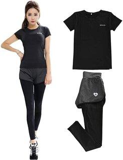 Amazon | レディース スポーツウェア フィットネスウェア スカート付き レギンス と パンツ 一体型 (134103)