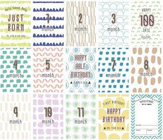 Amazon | ベビーマンスリーカード(ミニ命名紙付き) 15枚セット(両面印刷・2デザイン) (134193)