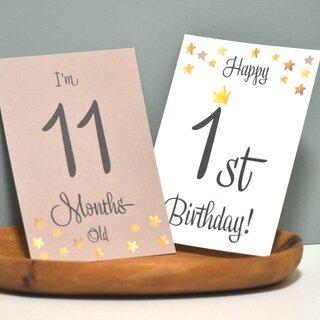 Amazon | 3歳まで☆ベビーマンスリーカード・スター&クラウン 星と王冠がが可愛い月齢カード (134194)