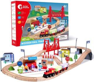 Amazon | Cute Stone 木製電車 おもちゃ 木製レールシリーズ 室内遊び 63点セット (134748)