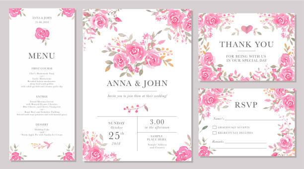 水彩のバラの花で結婚式の招待カード テンプレートのセット。