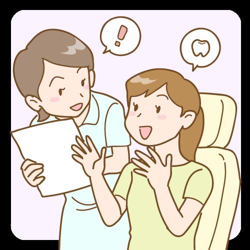 オフィスホワイトニングの流れ03(カウンセリング)|イラストNo.1616【歯科素材.com】 (6921)