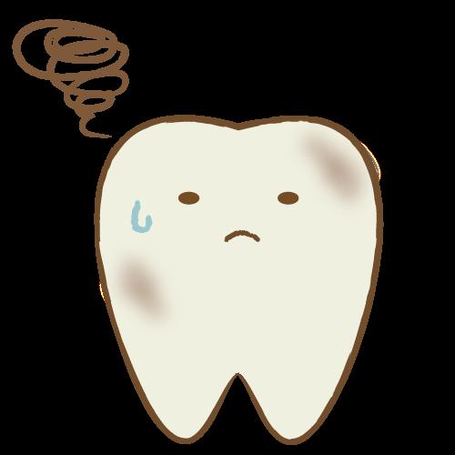 歯のキャラクター表情(汚れ)|イラストNo.2131【歯科素材.com】 (7216)