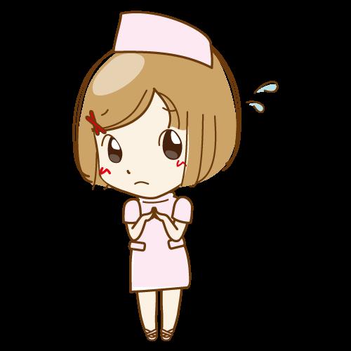 モエちゃん(桃・アセアセ)|イラストNo.31【歯科素材.com】 (7265)