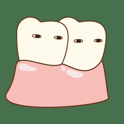 骨隆起の歯のキャラクター(二人:健康) イラストNo.2143【歯科素材.com】 (7611)