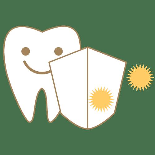 盾で虫歯菌や歯周病菌をガードするアイコン|イラストNo.2075【歯科素材.com】 (7695)