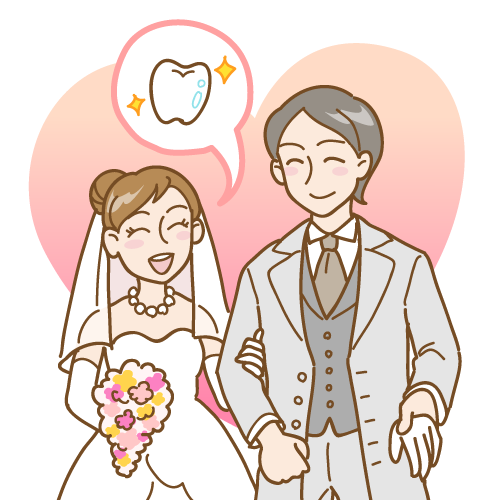 白い歯で印象アップ(結婚式) イラストNo.1621【歯科素材.com】 (7843)