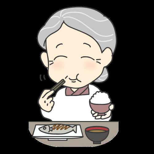 入れ歯でご飯を噛む年配女性|イラストNo.1357【歯科素材.com】 (7885)