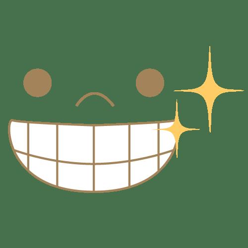キラキラの歯を見せて笑うアイコン|イラストNo.2076【歯科素材.com】 (8194)