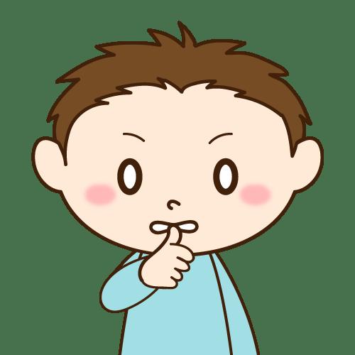 開咬の原因になる癖(爪を噛む)|イラストNo.2126【歯科素材.com】 (8250)
